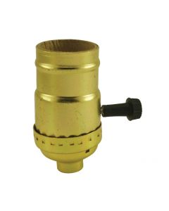 On/Off Turn-Knob Socket - Polished Gilt (No Set Screw)