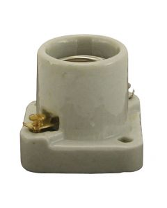 Medium Base Pony Cleat Socket, Glazed Porcelain