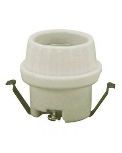 Medium Base U-Clip Snap-in Lamp Holder Unglazed Porcelain - 4KV Pulsed Rated