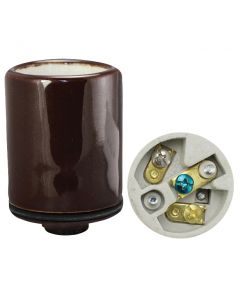 Bronze Medium Base Socket w/Ground, Glazed Porcelain with Heavy-Duty Metal Cap 1/8 IPS