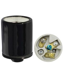 Black Medium Base Socket w/Ground, Glazed Porcelain with Heavy-Duty Metal Cap 1/8 IPS