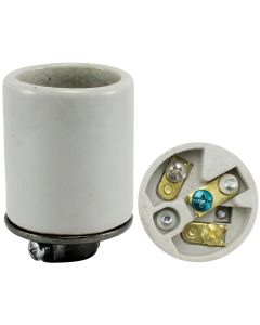 Medium Base Socket w/Ground, Glazed Porcelain with Heavy-Duty Metal Cap 1/8 IPS