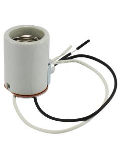 "MB Glazed Porcelain Socket with Side Outlet Bushing, 12"" Leads"