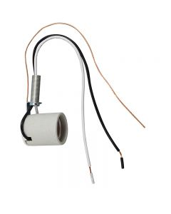 MB Side Hickey Socket w/Leads, Ground Wire and Nipple Glazed Porcelain