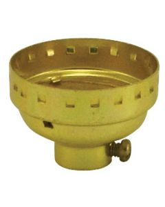 Medium Base Metal Shell Cap - No Set Screw - Polished Gilt (Leviton)