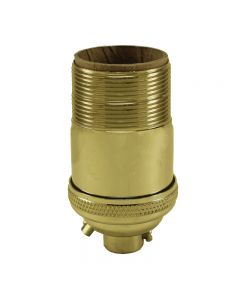 Heavy Wall Solid Brass UNO Keyless Socket with Ground Screw Terminal - Polished & Lacquered