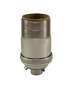 Heavy Wall Solid Brass UNO Keyless Socket with Ground Screw Terminal - Polished Nickel