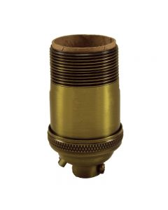 Heavy Wall Solid Brass UNO Keyless Socket with Ground Screw Terminal - Antique Brass