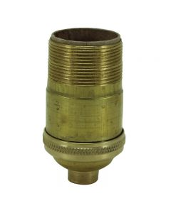 Heavy Wall Solid Brass Keyless Socket with Long UNO Threads - Unfinished
