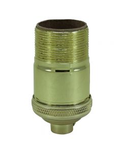 Heavy Wall Solid Brass Keyless Socket with Long UNO Threads - Polished & Lacquered