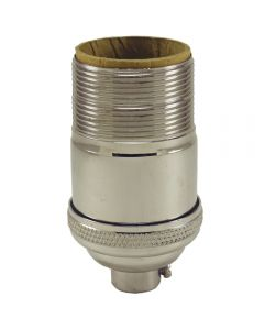 Heavy Wall Solid Brass Keyless Socket with Long UNO Threads - Polished Nickel