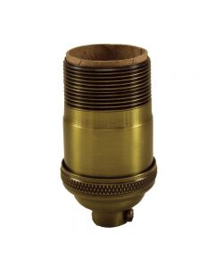 Heavy Wall Solid Brass Keyless Socket with Long UNO Threads - Antique Brass