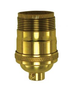 Heavy Wall Solid Brass UNO Short Keyless Socket - Polished & Lacquered