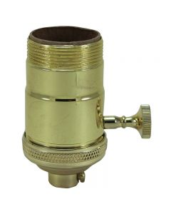 Heavy Wall Solid Brass UNO 3-Way MB Turn Knob Socket - Polished & Lacquered