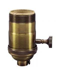 Heavy Wall Solid Brass UNO 3-Way MB Turn Knob Socket - Antique Brass