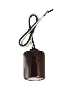 "Medium Base Socket with Cap, Glazed Porcelain - 18"" Leads - Bronze"