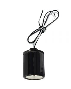 "Medium Base Socket with Cap, Glazed Porcelain - 24"" High Heat Leads - Black"