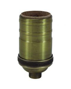 Heavy Wall Solid Brass Full Size Keyless Socket - Antique Brass