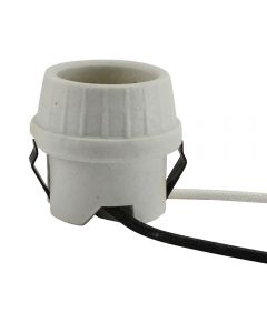 "MB U-Clip Snap-in Lamp Holder Unglazed Porcelain - 4KV Pulsed Rated, 9"" Leads"