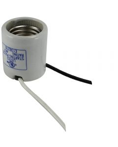 "HID Medium Base Socket 4 KV Pulse Rated, Glazed Porcelain with Side Notches- 9"" Leads - No Cap"