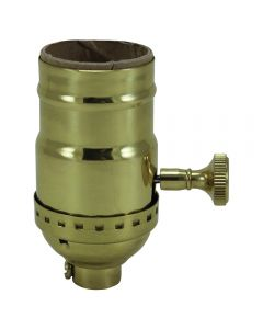 On/Off Solid Brass Turn Knob Socket - Polished & Lacquered