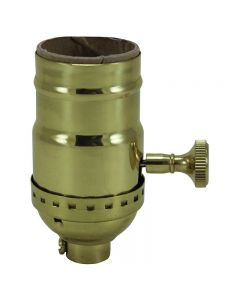 3-Way Solid Brass Turn Knob Socket - Polished No Lacquer