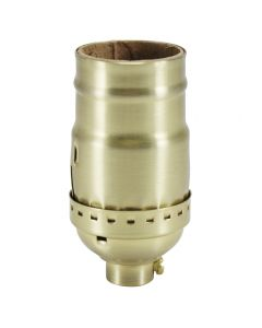 Solid Brass Medium Base Keyless Sockets - Satin Brass