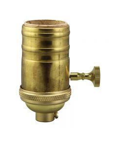 Heavy Wall Solid Brass 3-Way MB Turn Knob Sockets - Unfinished Brass