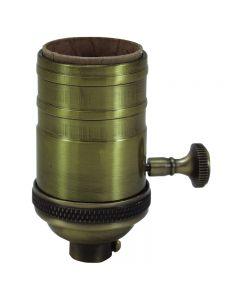 Heavy Wall Solid Brass 3-Way MB Turn Knob Sockets - Antique Brass