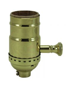 Solid Brass Turn Knob Dimmer Socket - Polished / Lacquered