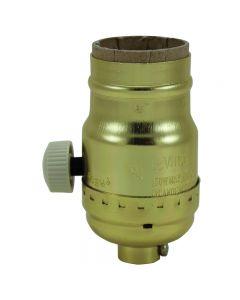 Full-Range Dimmer Socket with Ivory Turn Knob - Polished Gilt (Leviton)