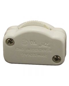 Hi-Lo Feed-Thru Lamp Cord Dimmer - White, For SPT-1 18/2 wire