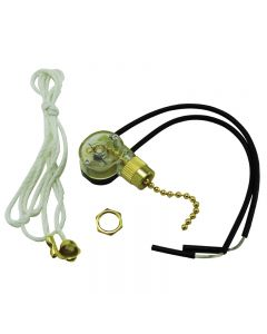 On/Off Pull-Chain Canopy Switch - Brass Bell Mouth