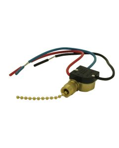2-Circuit - 4-Position Pull-Chain Canopy Switch Off - L1 - L2 - L1+ L2 - Brass