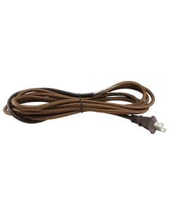 11FT Rayon Covered SVT/2 Cord Set - Brown Rayon, Brown Plug