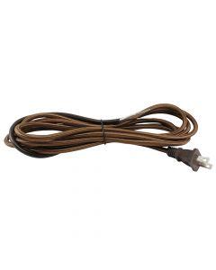 11FT Rayon Covered SVT/2 Cord Set - Brown Rayon, Brown Plug