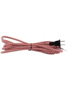 11FT Rayon Covered SVT/2 Cord Set - Red & White Houndstooth