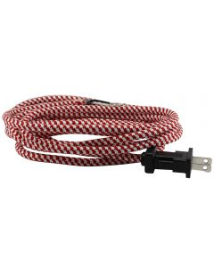 11FT Rayon Covered SVT/2 Cord Set (16 Gauge) - Red & White Houndstooth