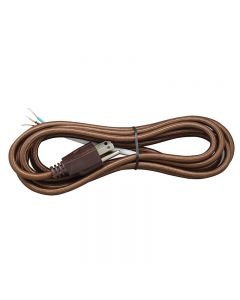 11FT Rayon Covered SVT/3 Cord Set - Brown Rayon, Brown Plug