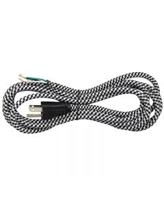 11FT Rayon Covered SVT/3 Cord Set - Black & White Houndstooth