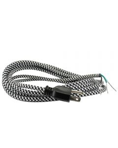 11FT Rayon Covered SVT/3 Cord Set (16 Gauge) - Black & White Houndstooth