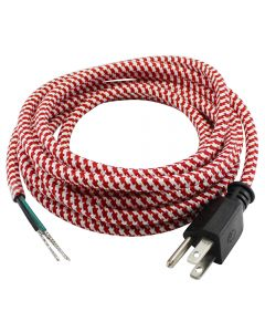 11FT Rayon Covered SVT/3 Cord Set (16 Gauge) - Red & White Houndstooth