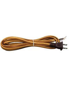 11FT Rayon Covered SPT-1 Cord Set - Gold Rayon, Brown Plug