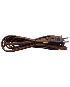 11FT Rayon Covered SPT-1 Cord Set - Brown Rayon, Brown Plug