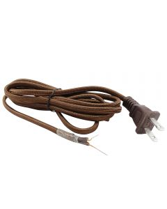 9FT Rayon Covered SPT-1 Cord Set - Brown Rayon, Brown Plug