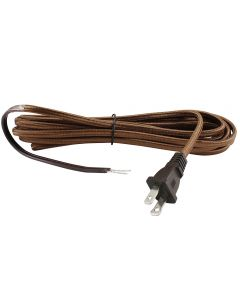 16FT Rayon Covered SPT-2 Cord Set - Brown Rayon, Brown Plug