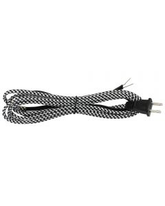 11FT Rayon Covered SPT-2 Cord Set - Black & White Houndstooth Rayon, Black Plug