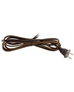 9FT Rayon Covered SPT-2 Cord Set - Brown Rayon, Brown Plug
