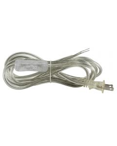 Ergo-Design In-Line Toggle Switch with 11FT SVT/2 Cord Set Clear Switch with Clear Silver Wire