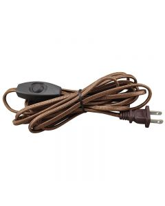 12 Foot Rayon Covered SPT-1 Cord Set with Square Euro Style Toggle Line Switch Installed - Brown